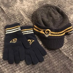 LA Rams football sweater hat and gloves set
